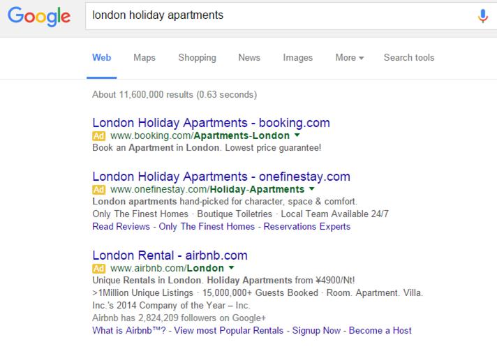 airbnbオンライン広告経由の予約