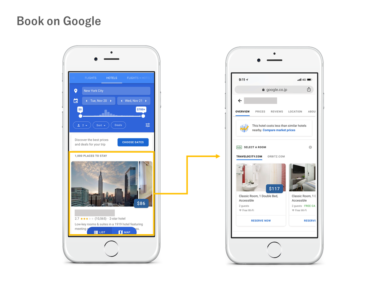 google上でホテルの予約を完結する book on google ヨーロッパへ拡大